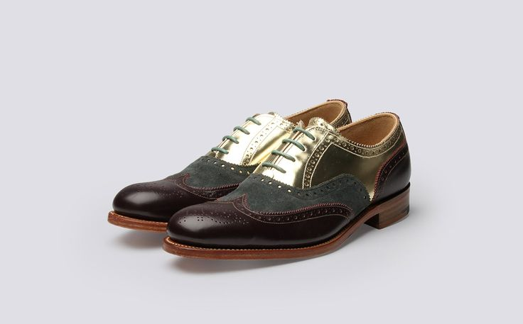Womens Oxford Brogue in Olive Green Suede, Burgundy Calf Leather and Metalic Gold Calf Leather with a Leather Sole | Grenson:LAB 19 - Martha | Grenson Shoes - Three Quarter View