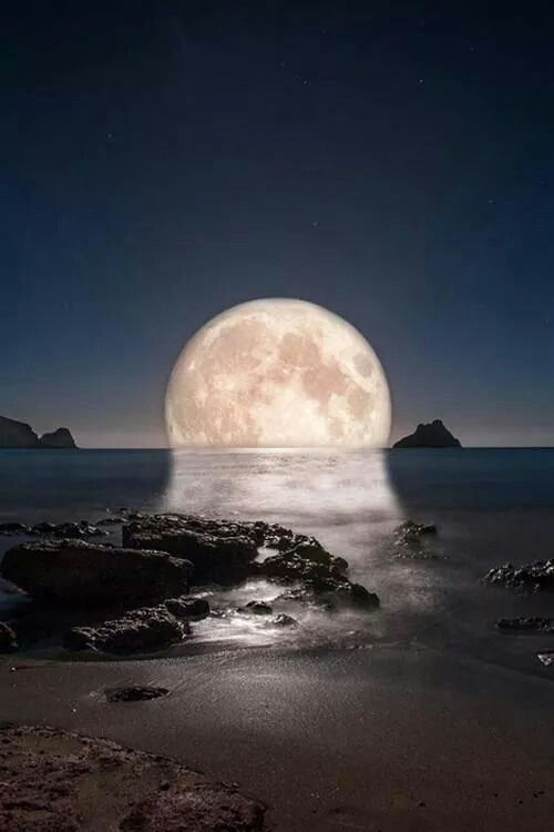 Image result for full moon melting into the sea