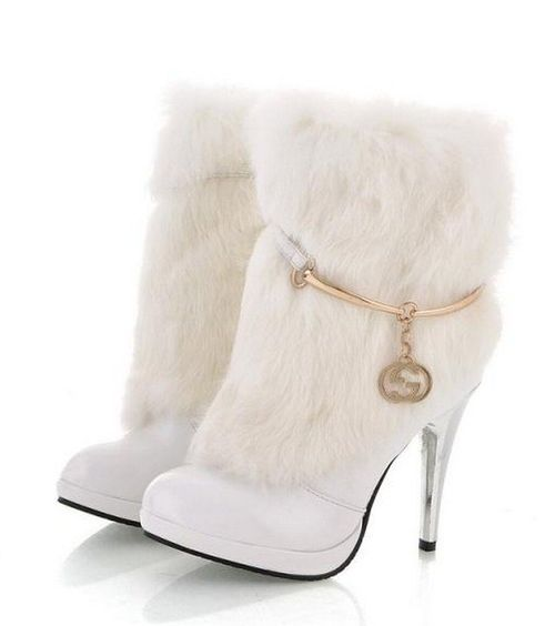 Sexy White Rabbit Fur High Heel Winter Ankle Boots
