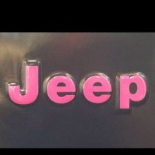 silver and hot pink jeep wrangler | Jeep Wrangler YJ 2 Pc. Set PINK Decals For The Bump Letters On Front ...