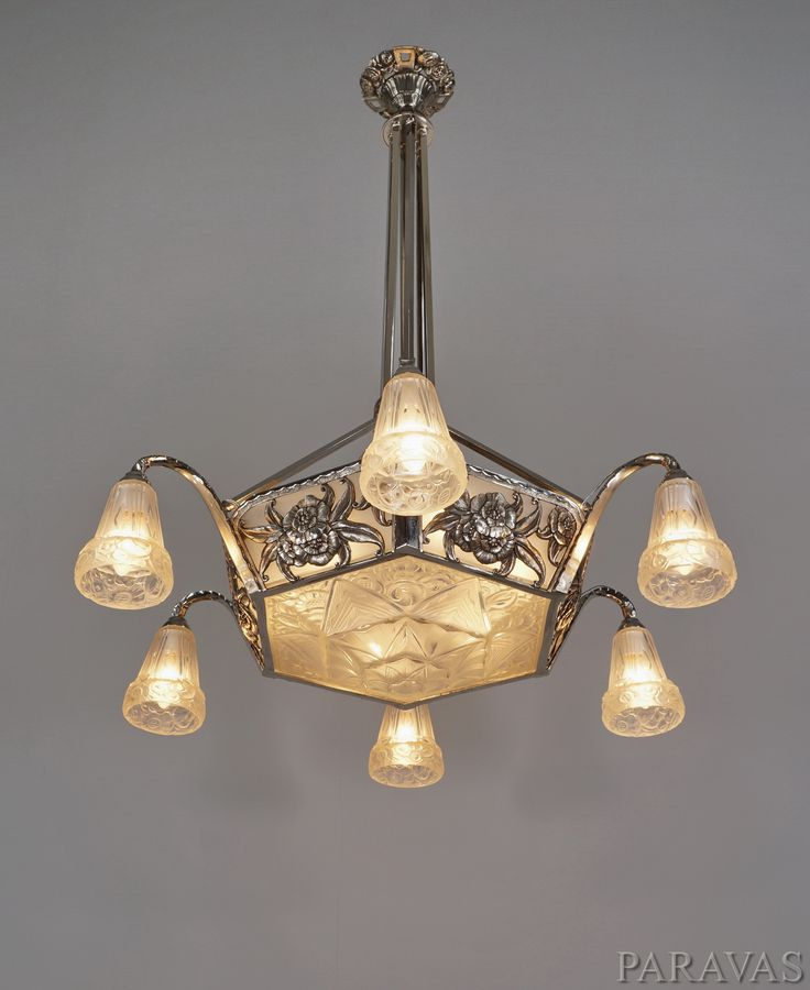 Ollier hanots large 1930 french art deco chandelier paravas ebay