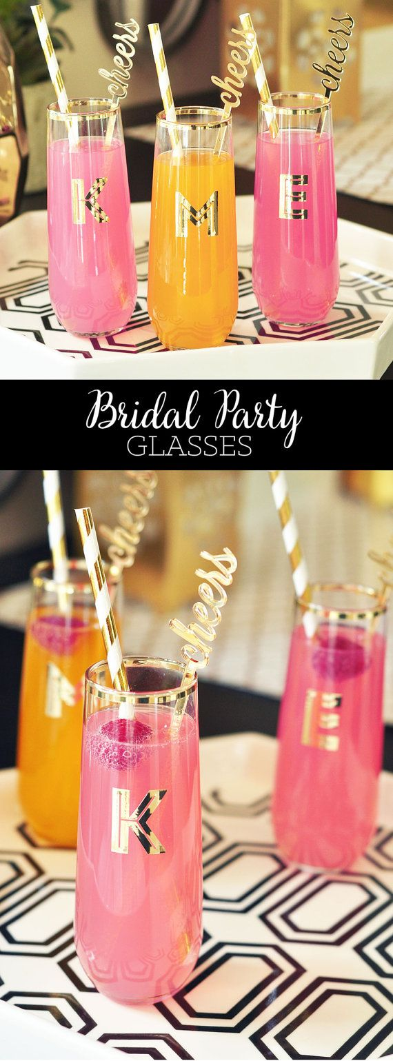 Bridesmaid Gift Ideas Personalized Stemless Glasses by ModParty