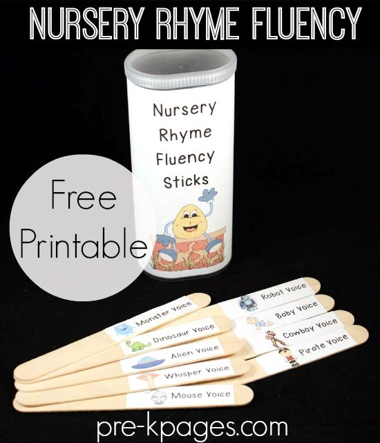 Printable Nursery Rhyme Fluency Sticks - Sticks describe different voices to use for saying nursery rhymes.  Includes free printables