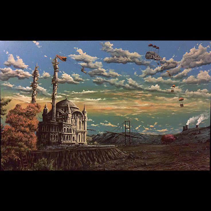 "Serdar Akkılıç ""İstanbul Masalları Serisi (Ortaköy)"" 100x160cm/acrylic on canvas/2015"