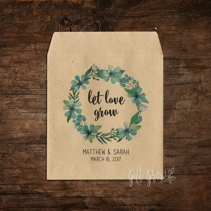 Floral Green & Blue Botanical Wreath Wedding Seed Packets