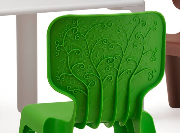 Look at the detail on this kid's table and chair set. Beautiful!
