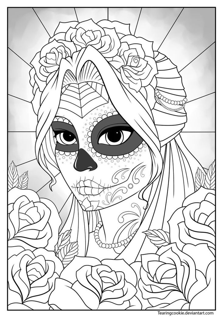 Sugar Skull Girl Colouring Page by TearingCookie on DeviantArt *** Day of the Dead dia de los muertos Sugar Skull Coloring pages colouring adult detailed advanced printable Kleuren voor volwassenen coloriage pour adulte anti-stress kleurplaat voor volwassenen Line Art Black and White