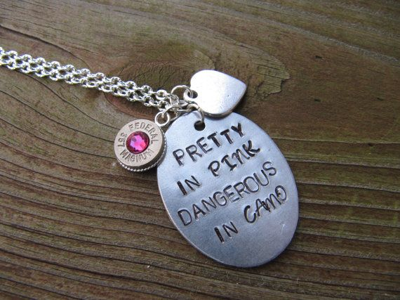 Hand Stamped 38 Special Bullet Necklace with Swarovski Crystals - Bullet Jewelry  - Girls with Guns - Pretty in Pink Dangerous in Camo