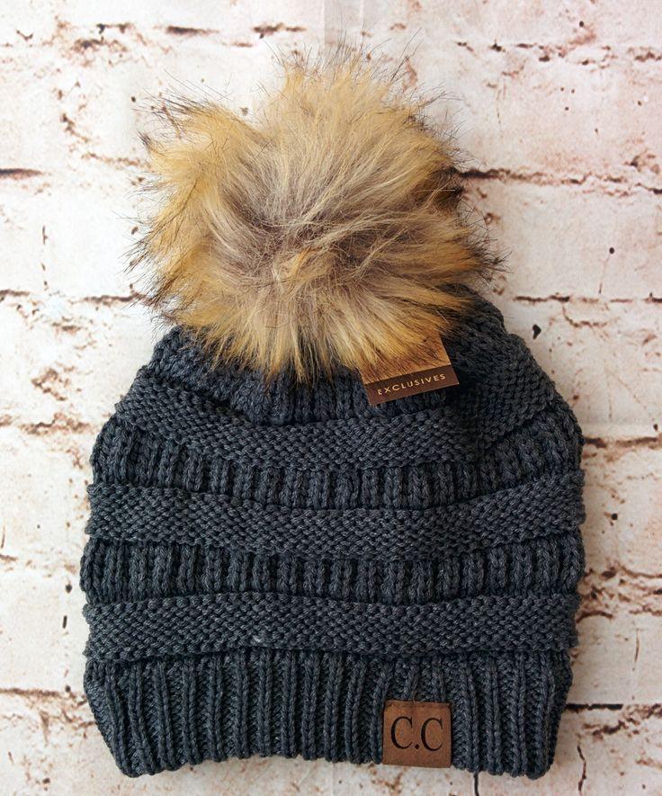 Fur Pom Pom CC Beanie Hats