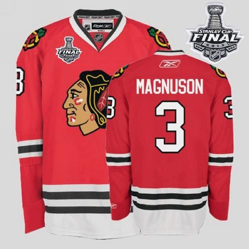Blackhawks #3 Keith Magnuson Embroidered Red With Stanley Cup Finals NHL  Jersey