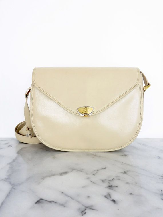 GUCCI Pearl Cream Leather Purse Shoulder Bag Rare 1970s by COTIVE