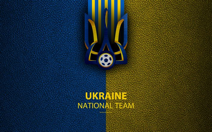 Download wallpapers Ukraine national football team, 4k, leather texture, coat of arms, emblem, logo, football, Ukraine