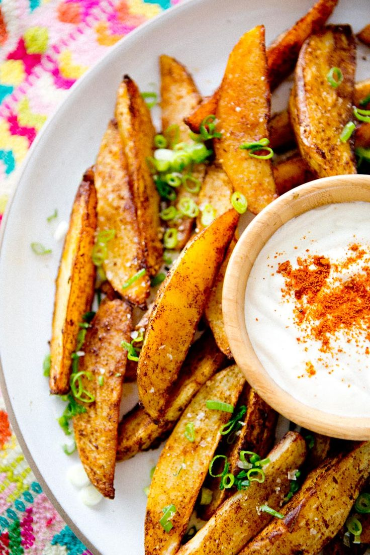 Spicy Potato Wedges with Lime Dipping Sauce~T~ These are tasty. I didn't make the sauce, just dipped in ranch or blue cheese dressing.  Baked in the oven.