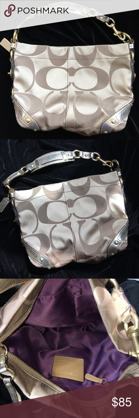 Coach Hobo Purse in Metallic Gold & Tan Beautiful Coach hobo bag, barely worn. There is one small scuff on the interior Coach label which is shown in the picture but the inside is nice and clean. Coach Bags Hobos