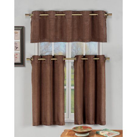Taupe 3 Pc Kitchen Window ***Curtain Set with Silver Metal Grommets: 1 Valance, 2 Tier Panels in garnet