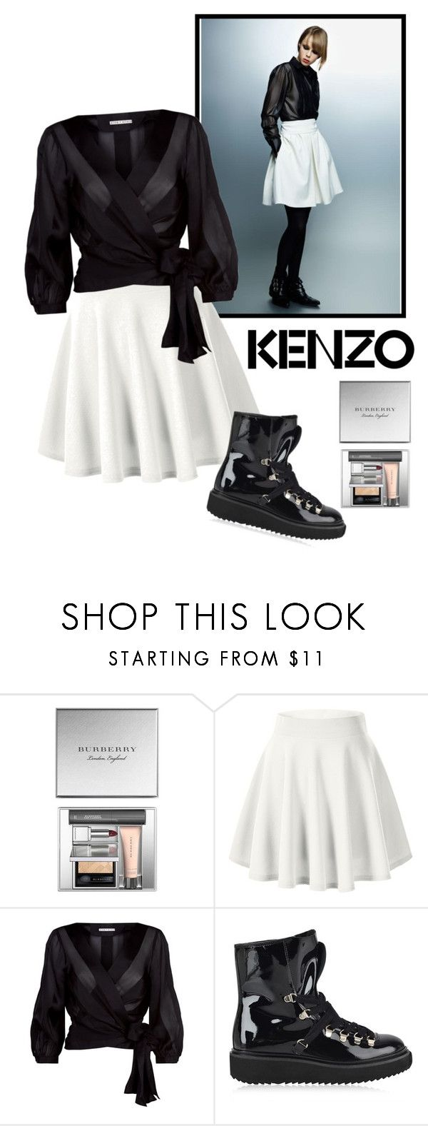 """""""Winter Update B/W & High Boots"""" by julejoon ❤ liked on Polyvore featuring Karl Lagerfeld, Kenzo, Burberry, cutekawaii and Alice + Olivia"""