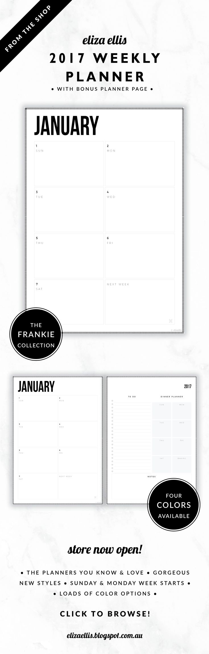 2017 Weekly Planner with Bonus Page // The Frankie Collection by Eliza Ellis. Use as a one page planner or a week to a spread planner with the bonus page. Includes to do list, meal planner and generous notes area. Classic, bold design with hash border. Available in 4 colors –  silk, mist, smoke and bone. Monday and Sunday week starts included. Documents print to A4 or A5.
