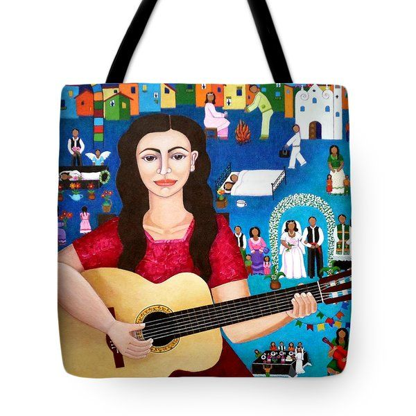 Violeta Parra And The Song Black Wedding II Tote Bag by Madalena Lobao-Tello