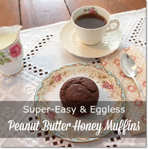 Super-easy, eggless peanut butter honey muffins recipe. Dagmar's Home. DagmarBleasdale.com #baking #recipe #cupcakes