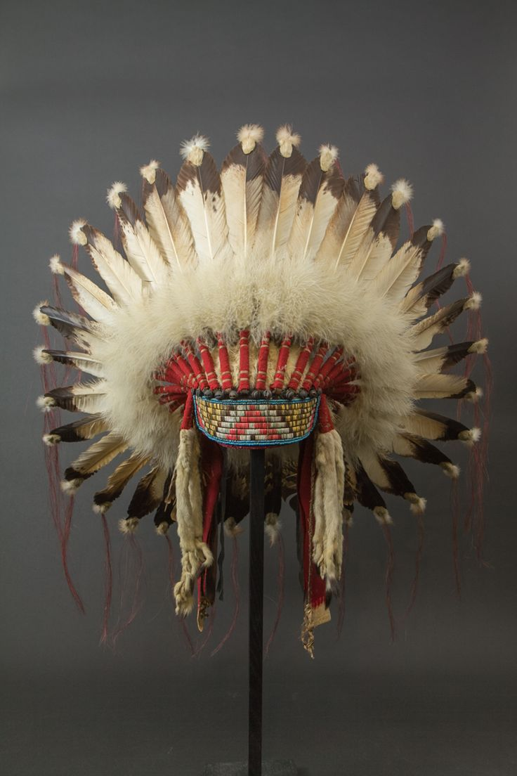 Chief War Bonnet - Front | Plains Indians, USA Eagle feathers, horsehair, beads, quill, fabric, fur Circa 1920-1930