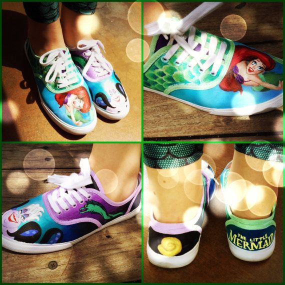The Little Mermaid Hand Painted Shoes Gold by MagnoliaStudios1