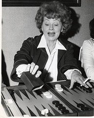 Lucille Ball is shown here playing backgammon at the Inglside Inn in Palm Springs, CA during the early 1980's.