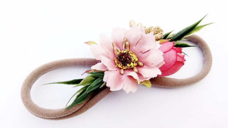 Dusty Pink Floral Tieback / Stretch Headband