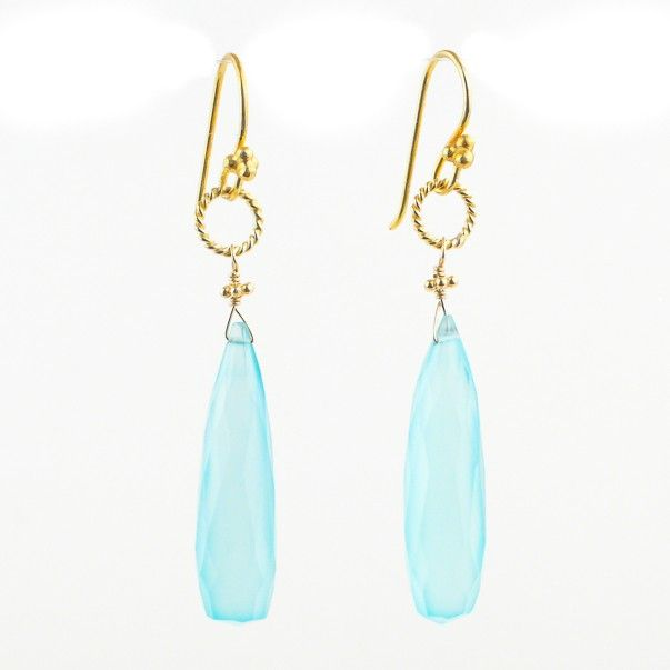 Gift Earring Giveaway this weekend at www.robindira.com! These faceted chalcedony earrings in radiant aqua just sparkle with summertime sunshine—they're sure to become your indispensable accessory for the season's long, warm nights. Accents of 22k gold vermeil set off this pair's luscious color, creating that beachy feel you'll want to pair with all your favorite flowing fabrics! - Robindira Unsworth