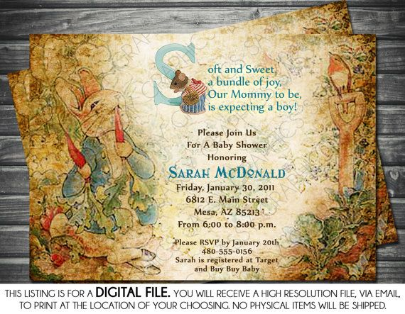 Boy Baby Shower Invitation   Baby Boy Blue Peter Rabbit Vintage DIY  Printable Invite PDF Beatrix Potter (Item #3)