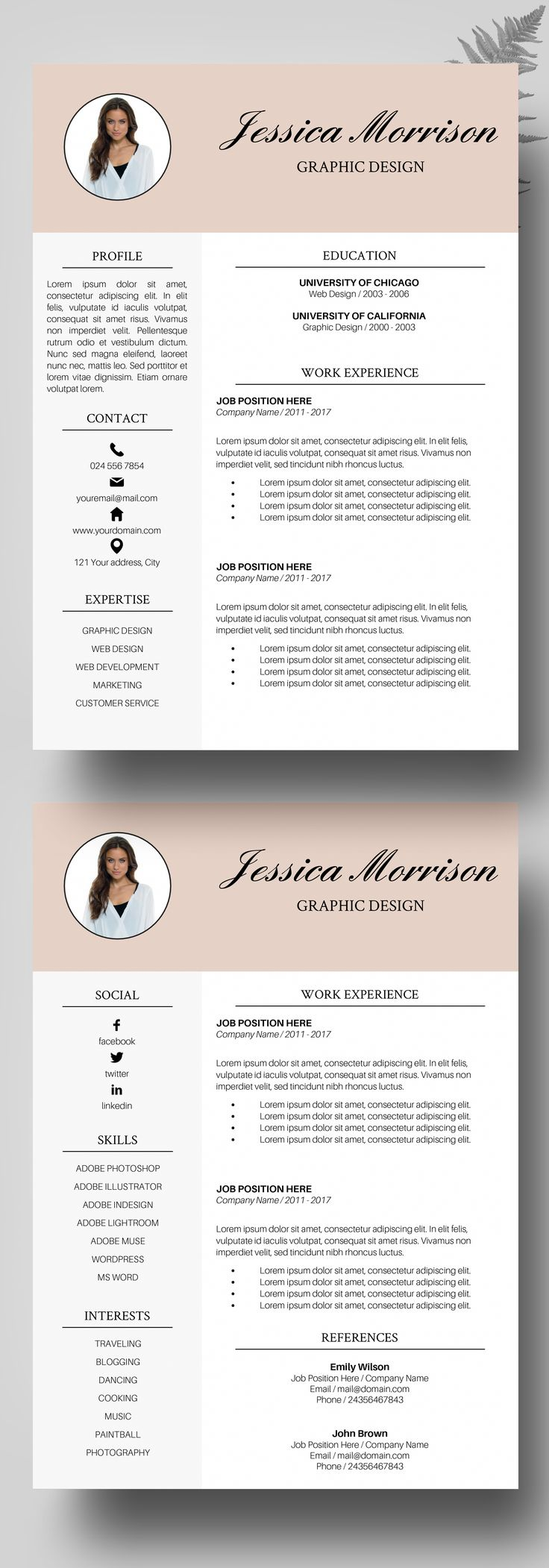 Photo Resume Template Instant Download CV Word Creative Design Service Bundle Professional