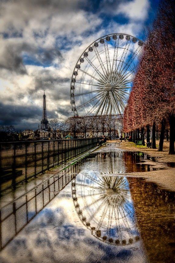 Ferris Wheel and Eiffel Tower Paris, by Kay GaenslerWater Reflections, Dreams, Eiffel Towers, Paris Photography, Beautiful, Paris France, Travel, Places, Ferris Wheels