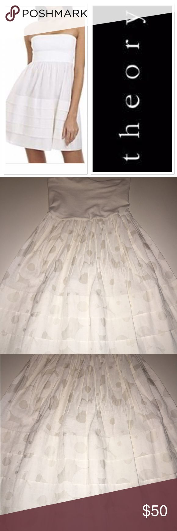 Theory strapless white dress Gorgeous white tube top dress with flare bottom that has subtle polkadots says OS I would say it's a small Theory Dresses Strapless