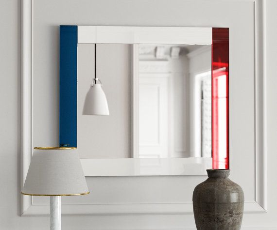 Modern wall mirror. Red white and blue glass by MirrorCooperative