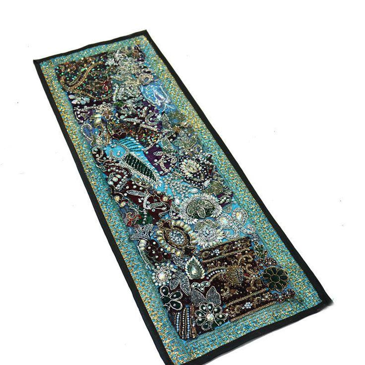 "30X10"" Indian Silk Unique Design Kundan Home Decor Antique & Patchwork Tapestry  #Namasteart #AntiqueStyle"