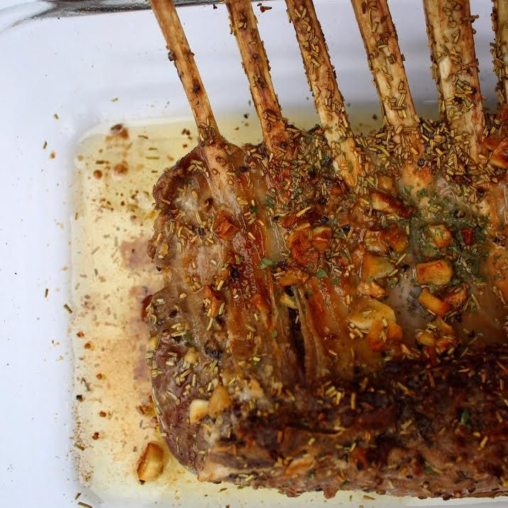 Rack of Lamb-- Marinade: Olive oil, tad of soy sauce, rosemary, chopped garlic, and black pepper.
