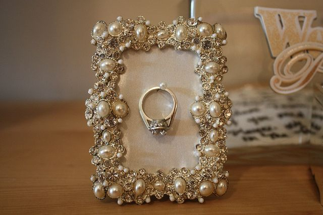 ...cute gift idea for the bride-to-be...a framed ring holder to have on your bedside table or bathroom sink for while you're washing your hands, putting on lotion, etc...