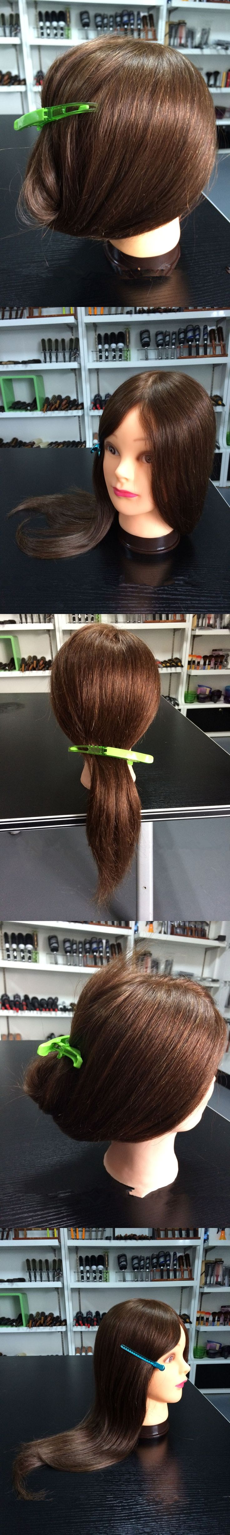 1PC 90% Real Human Hair Hairdressing Training Head With Clamp Salon Mannequin Head For Hair Styling Tools