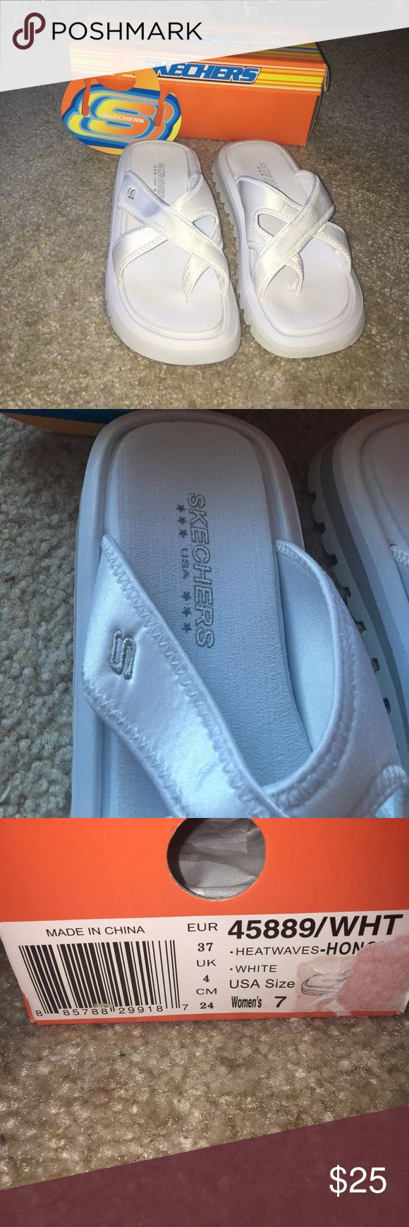 Sketchers beach white shoes Skechers beach flip-flops Brand new! Comes with original box Color: white and a little bit of silver  Size: 7  Open to offers! sketchers Shoes Slippers