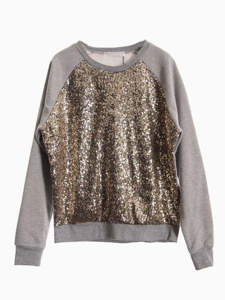 Sweatshirt With Sequin Front