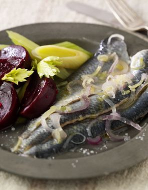 Marinaded herrings with beetroot, leeks and horseradish  by Andy McLeish