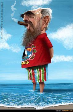 Caricatura de Fidel Castro.