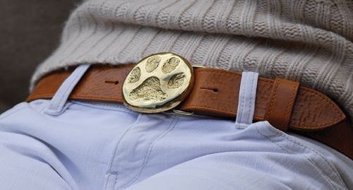 Detachable solid brass buckle £50 on tan leather belt £75.  Also comes in pewter.