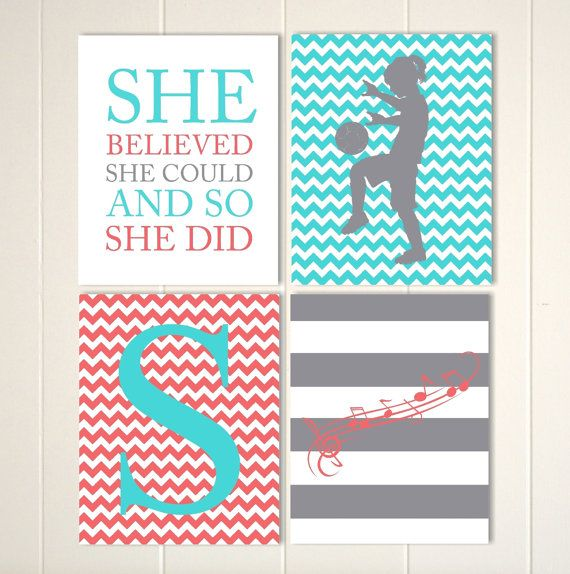 Personalized girls art, soccer girl art, musical notes wall art, chevron girls room decor, she believed, set of 4, custom colors and sports art musical by PicabooArtStudio