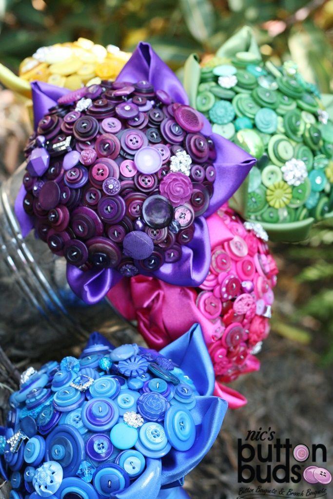 Vintage Button Bouquets   Button Wedding Bouquets - Nic's Button Buds