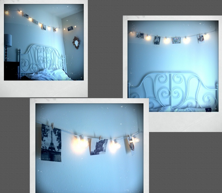 String Lights Polaroid : I made a postcard/polaroid display by hanging up exposed-bulb string lights, then affixing the ...