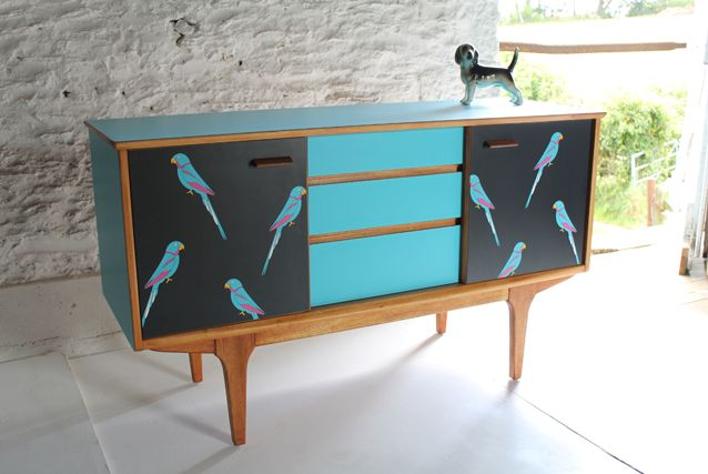 Carribean parrot sideboard. Lucy Turner.