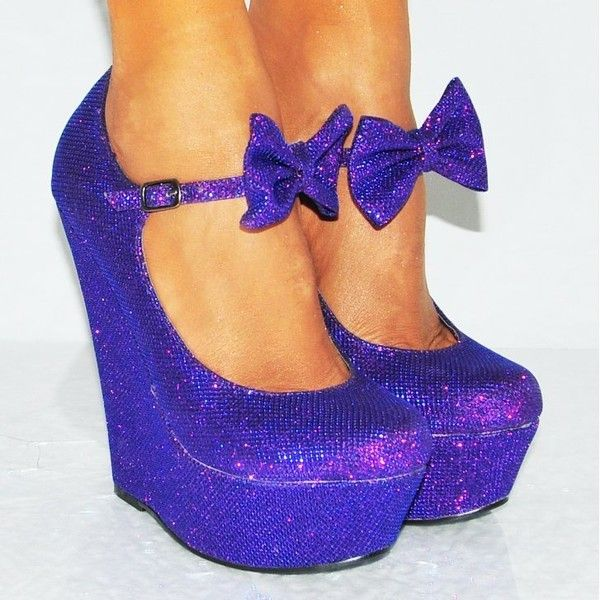 Ladies Purple Metallic glitter bow wedges platforms high heels ($19) ❤ liked on Polyvore featuring shoes, purple platform shoes, metallic shoes, high heel shoes, purple wedge shoes and high heeled footwear