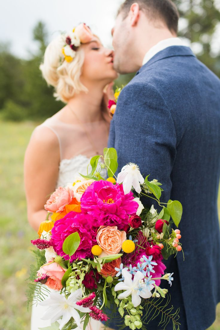Flowers by Lace and Lilies, bright - colorful - bold summer bridal bouquet, flower crown and boutonniere, peonies, garden rose, clematis, tweedia, poppies