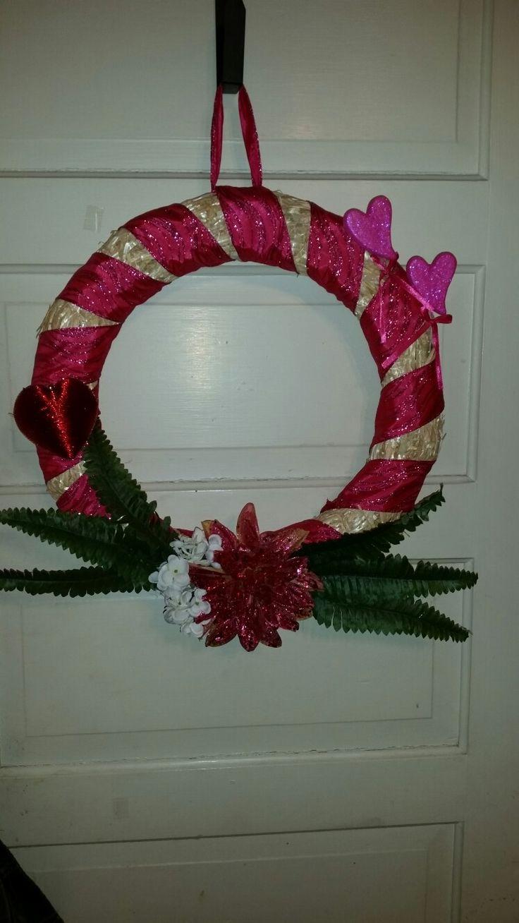 "Valentines day wreath  $40  No shipping  Sallybailey1960@yahoo.com 18"" straw"