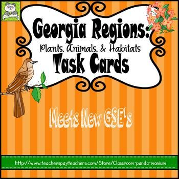 This set of task cards is great for third grade Georgia teachers or any elementary teacher teaching Georgia Regions: Plants, Animals, and Habitats. This has been updated on 8/2/17 to meet the new Georgia Third Grade Science GSE's. Task cards are great for